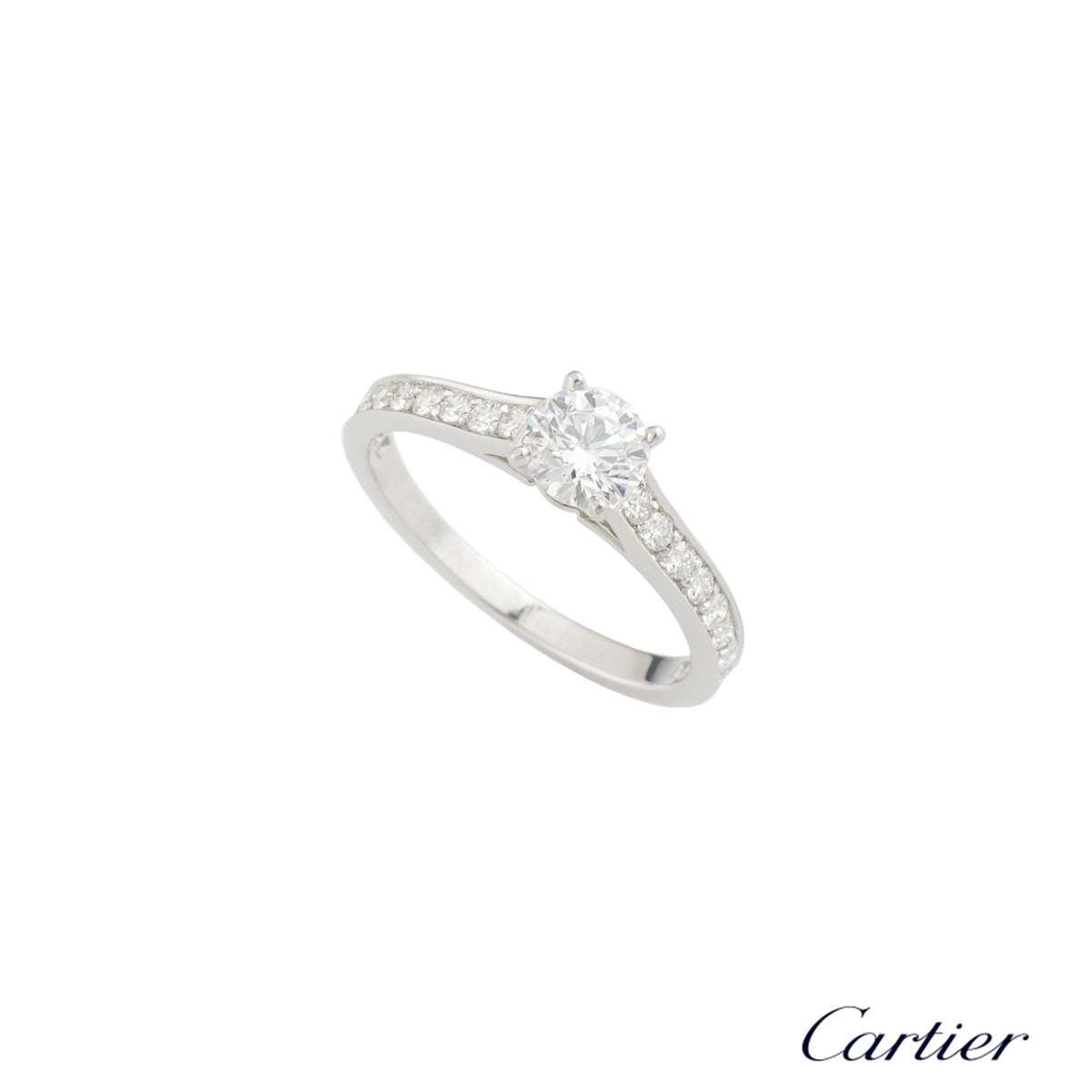 Cartier Platinum Diamond 1895 Solitaire Ring 0.44ct E/VS1 Size 49 N4164649